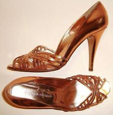 GORGEOUS SIGERSON MORRISON ROSE GOLD LEATHER HIGH HEELS - 10B Made in Italy