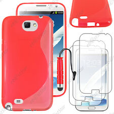 Housse Etui Coque Silicone Rouge Samsung Galaxy Note 2 + Mini Stylet + 3 Films