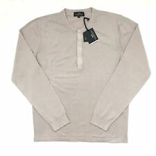 NWT $295 Corneliani CC Collection Men's Beige Cotton Knit Henley Shirt M 50 AUTH