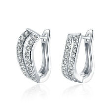 Rhodium Plated Micro Pave Clear CZ Wide Hoop Huggie Earrings Women 0.70""