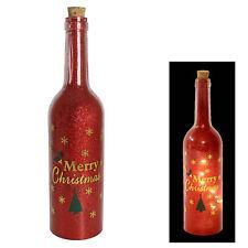 """Buon Natale """"Light Up"""" rosso scintillante bottiglia Decorazione"""
