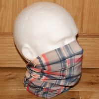 Mens Tube Snood Scarf Beige Blue Red Checked Plaid Biker Multi Use Neck Face