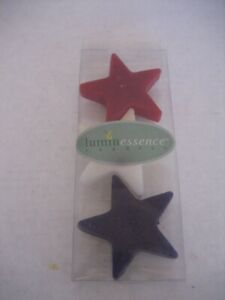 Luminessence Red/White/Blue Floating Stars Wax Candles 7/8in.H Set of 3 NWIP