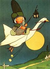Mabel Lucie Attwell Art Card Fairy Child Flys on Goose Moon Lantern Jingle Bells
