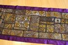 Indian hand made fine details embroidery patchwork table runner silk tapestry