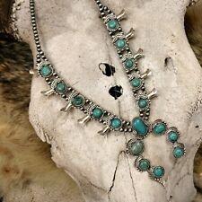 Turquoise Squash Blossom Necklace Southwest Western Boho Bohemian Genuine