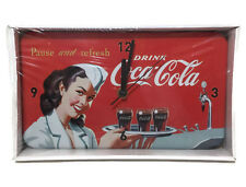 Coca Cola Drink Pause and Refresh Tinclock  Battery Operated Wall Clock New