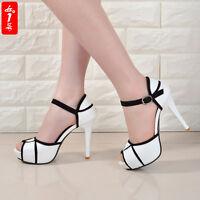 Women's Platform Stiletto High Heels Belt Buckle Peep Toe Shoes Sandals Hot