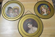 """3 Antique Chimney Flu Covers - Victorian Girl 7"""" & Woman & 2 girls (7 7/8"""")1900s"""