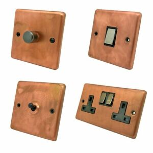 Aged Antique Copper Plug Sockets Light Switches Dimmers - Whole Range available