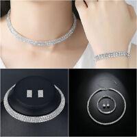 Set COLLIER Halskette Armband Strass BRAUTSCHMUCK HOCHZEIT BRAUT SCHMUCK