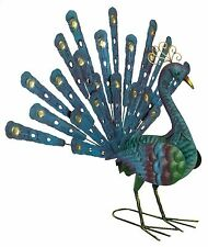 Blue Gold Colourful Metal Peacock Tail Up And Down Garden Ornament Statue