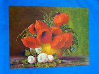 Vintage '40s Original Lithograph Art Print GP 2825 RED FLOWERS IN YELLOW VASE