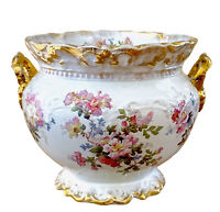 "Antique Wheeling Pottery Planter Jardiniere Floral Gold Detail Handled 15""W 11""H"