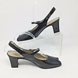 "Trotters~Jamie~Black Peep Toe~Patent Leather~Women's Size 8N~Slingback~2.5"" Heel"
