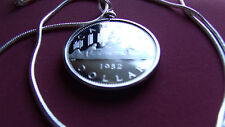 """1982 Proof CANADA Voyageur Dollar Pendant on an 18k White Gold Filled 24"""" Chain"""