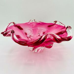 """Vintage Murano 12"""" XL Cranberry Sommerso Ruffled Rim Footed Centerpiece Bowl"""