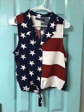 AMERICAN FLAG Women's Sleeveless Blouse Size Small
