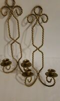 Bohemian Pair Vintage Double Candle Gold Twisted Metal Rope Wall Sconces Boho 70