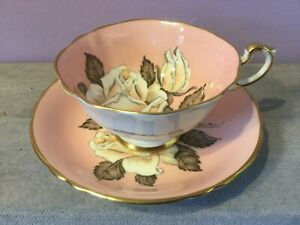 Vintage PARAGON Bone China CABINET CUP & SAUCER Floating WHITE ROSE / Pink DUO B