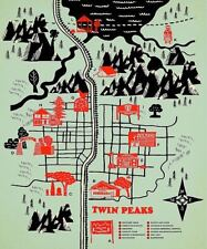 TWIN PEAKS MAP POSTER 20x24 television show street map fan gift art print