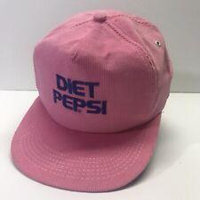 Vintage DIET PEPSI Pink Corduroy Snapback K Products Hat White Snapback USA Made