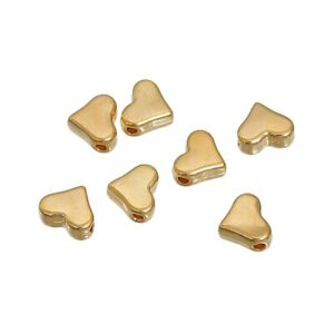 20 x Heart Shaped Metal Spacer Beads 7mm x 6mm GOLD Plated - Small - Hole 1.2mm