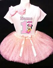 Minnie Mouse **With NAME** 1st First 1 Baby Pink Tutu Dress Fast Shipping