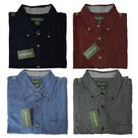 NWT Eddie Bauer Soft Flannel Men Shirt Solid Color Blue/Gray/Red Size M/L/XL/XXL
