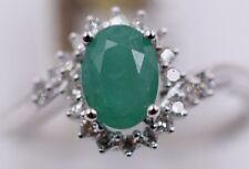 14K White Gold & Emerald & Diamond Ring .14ctw