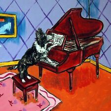 4x4 border collie dog piano glass art tile coaster gift Jschmetz modern folk