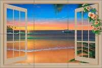 Ceramic Tile Mural Backsplash Miller Tropical Seascape Sunset Art DMA2023