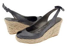 New MATISSE Women Leather Black Wedge Heel Slingback Sandal Shoe Sz 7 M Brazil