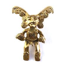 Pre-Columbian Style Gilt Metal Zoomorphic Fierce Deity Figural Necklace Pendant