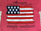 """NWT SIMPLY SOUTHERN """"American Flag Turtle s/s FREE SHIP S GIRL Patriotic"""