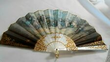 Vintage Hand Fan unsigned Marbled Pearl Plastic Paper/cloth Victorian Scene (Ai