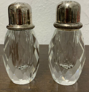 Antique Silverplate Cut-Glass Salt Pepper / Baccarat?