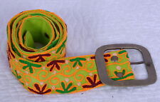 INDIAN HANDMADE COTTON CANVAS WOOL EMBROIDERED FLOWER BELT WOMEN GREEN BELT 34""