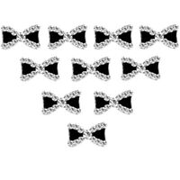 10x 3D Ongles Nœud Papillon Bowknot Strass Cristal Décor Bijoux Nail Art Tips
