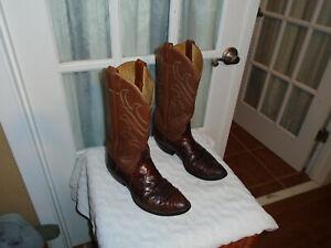 TONY LAMA EL REY MEN'S size 9 D EXOTIC BIAS CUT AMERICAN ALLIGATOR COWBOY BOOTS