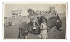 Children Riding a Donkey at the Seaside Vintage Photograph c1950s
