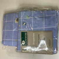 vintage NWTs cannon draperies set 2 color blue white plaid 50x84 open package