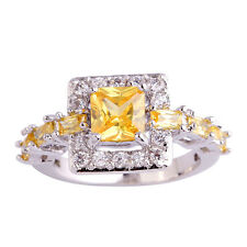 Yellow Citrine White Gemstones Fashion AAA Silver Ring Size 6 7 8 9 10 Free Ship