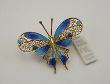 SPILLA FARFALLA IN FILIGRANA ARGENTO PLACCATA ORO E SMALTATA  BROOCH BUTTERFLY