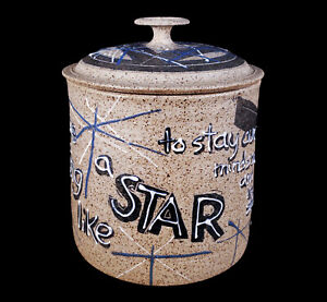 VINTAGE CHARLES COUNTS MID-CENTURY MODERN RISING FAWN STUDIO POTTERY JAR W/ POEM