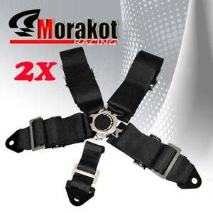 2x (Pair) 3'' Inch Nylon 5 Point Camlock Racing Safety Seat Belt Harness Black