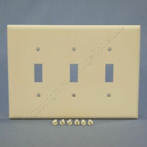Cooper Lt Almond 3-Gang Mid-Size UNBREAKABLE Toggle Switch Cover Wallplate PJ3LA