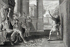 AND SAUL CAST THE JAVELIN 1777 Cheevers  - Jan Luyken ANTIQUE ETCHING