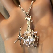 new sterling silver helicopter pendant & chain
