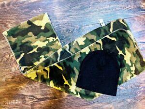 2 Black Beanie Hat, Green Camo Scarf Set